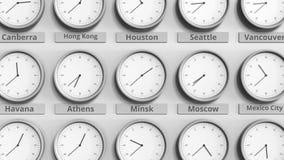 时钟展示在不同的时区中的米斯克,白俄罗斯时间 3D动画 股票视频