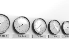 时钟展示在不同的时区中的达拉斯,美国时间 概念性3D动画 影视素材