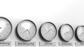时钟展示在不同的时区中的雅加达,印度尼西亚时间 概念性3D动画 股票录像