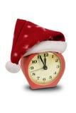 时钟帽子圣诞老人 库存图片