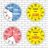 时钟时间概念集合砖墙 免版税库存照片