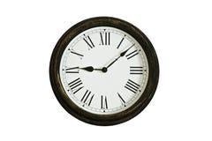 时钟木查出的老的墙壁 免版税库存照片
