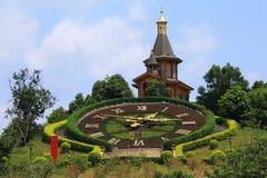 时钟植物的瑞士村庄 免版税库存照片