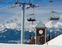 时钟滑雪 免版税库存图片