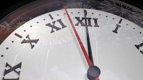 时钟的动画3d有烟花的反射的在玻璃的 股票录像