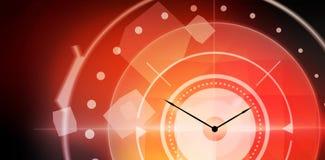 时钟的综合图象由货币制成在白色背景 库存图片