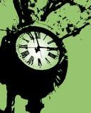 时钟绿色塔 免版税图库摄影