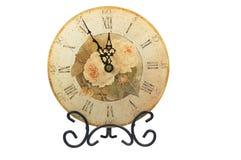 时钟表盘玫瑰葡萄酒 库存图片