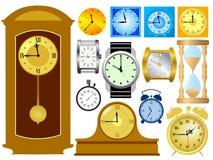 时钟被设置的向量 免版税库存照片