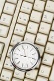 时钟计算机键盘 免版税图库摄影