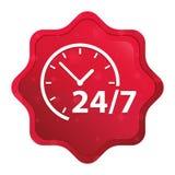 24/7时钟象有薄雾的玫瑰红的starburst贴纸按钮 皇族释放例证