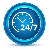 24/7时钟象眼珠蓝色圆的按钮 库存例证