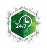 24/7时钟象花卉植物样式绿色六角形按钮 皇族释放例证