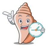 时钟逗人喜爱的壳字符动画片 库存照片