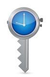 时钟钥匙。成功的时间安排的概念 免版税库存图片
