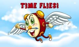 时钟飞行在天空 向量例证