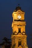 时钟dolmabahce宫殿塔 库存照片