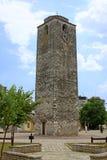 时钟montenegro无背长椅podgorica塔 图库摄影