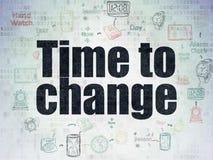 时间安排概念:时刻改变在数字资料裱糊背景 库存图片