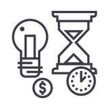 时间安排,滴漏,硬币,定时器传染媒介线象,标志,在背景,编辑可能的冲程的例证 皇族释放例证