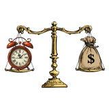 时间是货币概念 大袋美元和在等级的怀表 向量 向量例证