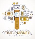 时间是金钱概念、手手表和美元象集合,手表定时器最后期限讽喻 向量例证