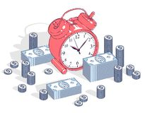 时间是金钱概念、桌闹钟有现金金钱堆的和在白色背景隔绝的硬币堆 等量的传染媒介3d 库存例证