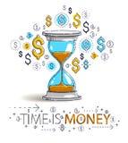 时间是金钱概念、滴漏和美元象集合,沙子手表定时器最后期限讽喻 皇族释放例证