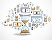 时间是金钱概念、滴漏和美元象集合 库存例证