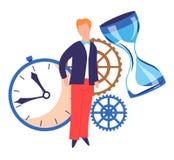 时间概念定时器和滴漏钝齿轮和人或者商人 库存例证