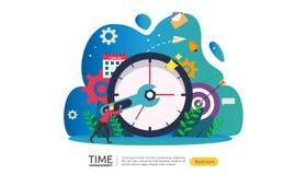 时间管理和耽搁概念 计划和战略企业解答的与时钟、日历和微小的人民 皇族释放例证