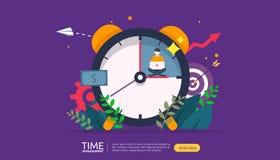 时间管理和耽搁概念 计划和战略企业解答的与时钟、日历和微小的人民 库存例证