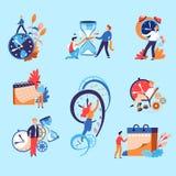 时间管理概念商人和滴漏或者定时器和日历 库存例证