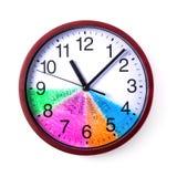 时间管理概念:有一个色的拨号盘的圆的时钟和行动纲领在白色背景的一天 免版税图库摄影