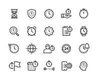 时间管理线象 秒表、警报和滴漏稀薄的传染媒介标志 计时和企业效率 皇族释放例证