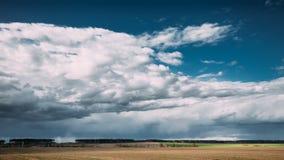 时间间隔定期流逝乡下农村领域春天草甸风景Timelapse在风景剧烈的天空下以前和 股票录像