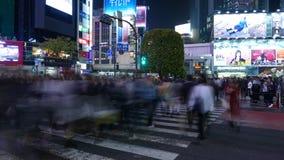 时间Lapce涩谷横穿在晚上,东京,日本 股票录像