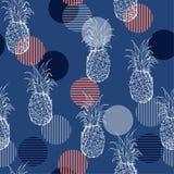 时髦与韩的夏天新鲜的概述菠萝无缝的样式 库存例证