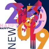 时髦五颜六色和时髦的招呼的新年卡片 免版税库存照片