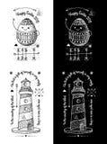 时髦减速火箭的葡萄酒权威-徽章传染媒介设置与灯塔-节日快乐 免版税库存照片