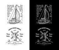 时髦减速火箭的葡萄酒权威-徽章传染媒介设置了与小船 免版税库存照片