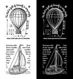 时髦减速火箭的葡萄酒权威-徽章传染媒介设置了与小船 图库摄影