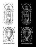 时髦减速火箭的葡萄酒权威-徽章传染媒介设置了与灯塔 免版税库存照片