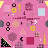 时髦几何元素孟菲斯卡片,无缝的样式 减速火箭的样式纹理 现代抽象设计海报,盖子,卡片设计 库存图片