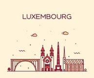 时髦卢森堡地平线传染媒介线性样式的城市 库存例证