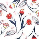 时髦在手drawi的野花郁金香花无缝的样式 皇族释放例证