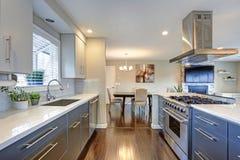 时髦地有不锈钢装置的更新厨房 库存照片
