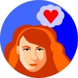 时髦妇女作梦关于爱 平的样式 红头发人女孩 免版税图库摄影