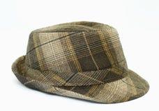 时髦帽子的格子花呢披肩 库存照片