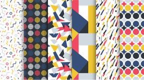 时髦无缝的五颜六色的样式的汇集-反复性的minimalistic设计 减速火箭的时尚样式80-90s 库存例证